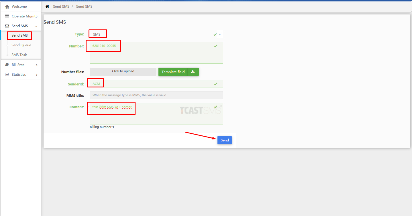 03 Software Tcastsms Send Sms Single Nomor Aplikasi Sms Blast